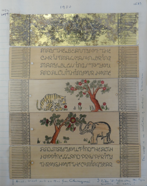 Christmas and New Year wishes Le May received from Chiang Mai in 1950. This is a very rare example of 20th-century printing on palm leaves, with hand-coloured illustrations. British Library, MSS Eur C275/8