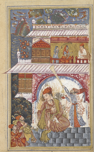 The hero, Shah Ji is enflamed with passion (BL Add.16680, f. 87r)