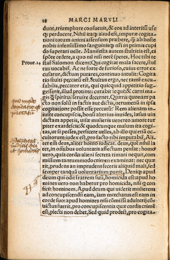 Page of the 'Evangelistarium' with manuscript annotations by Henry VII in the margins