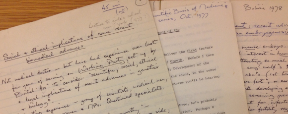 Selection of lectures dating from 1977-78 including a 'Lecture to girl's school near York'