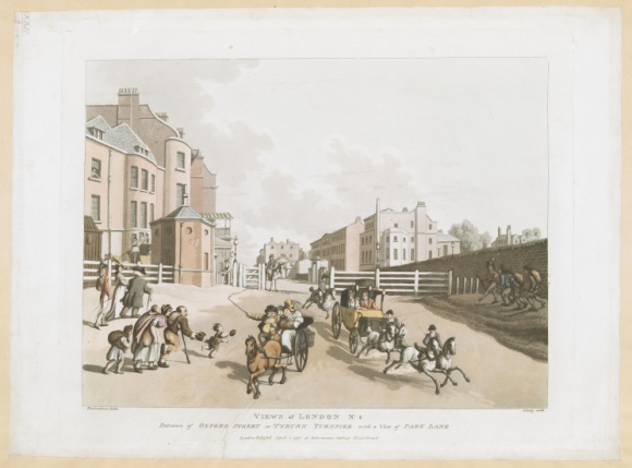 Entrance of Oxford Street or Tyburn Turnpike, with a View of Park Lane
