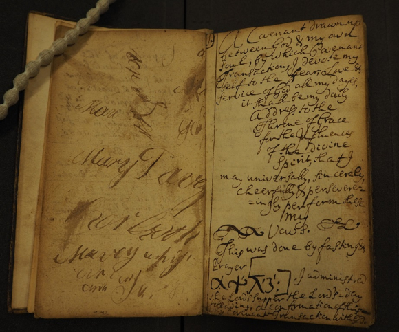 Page showing Mary Davey's inscription