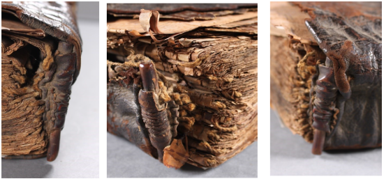 Three images of the wood-core headband, consisting of a dark wooden dowel bound in chord and skin.The textblock can be seen tightly compressed behind the leather.
