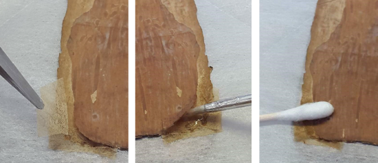 Three images side-by-side, (Left): Applying toned Kozo 2 to delaminated corner. Centre: applying methylcellulose with a fine brush. Right: Applying gentle pressure to the join using a cotton swab.