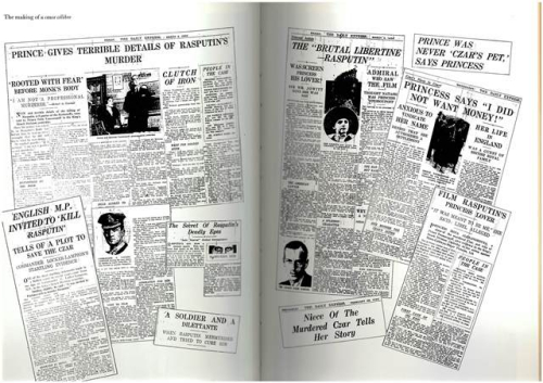 Montage of newspaper articles about the Yusupov case