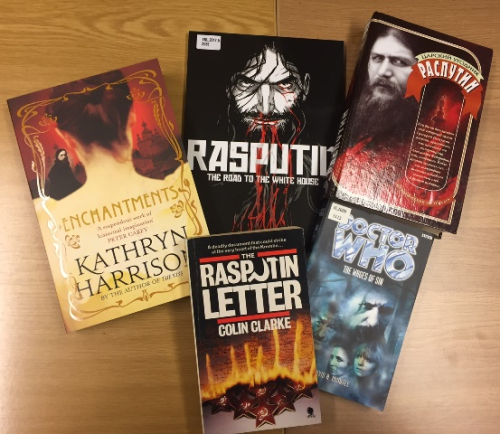 Covers of fiction books featuring Rasputin