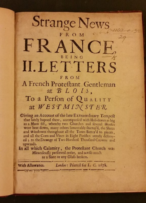 Title-page of Sloane's copy of Strange news from France