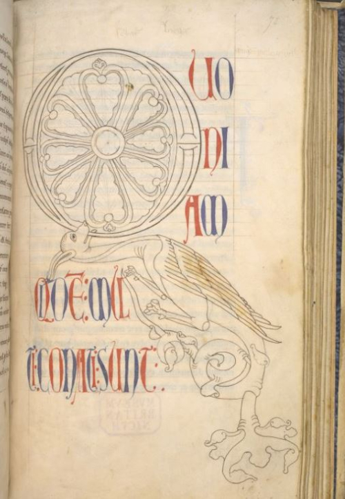 A page from a medieval manuscript, with an unfinished decorated initial.