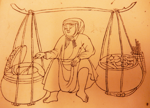 Food vendor, from Oger 1909, p.75. British Library, Or. TC 4