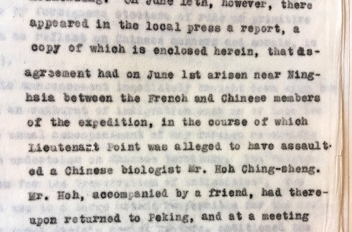 Extract of a letter eporting on the incident involving Lieutenant Point and Mr Hoh Ching-sheng