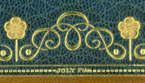 Gold embossed signature on a binding