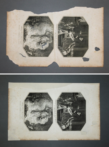 The piece of paper on a grey background, with the top image showing before treatment and the bottom image showing after treatment.