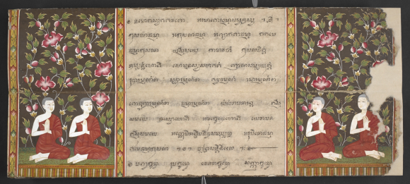 Illustrations of four Buddhist monks at a funeral. From a central Thai folding book containing a selection of Buddhist texts and the legend of Phra Malai, 19th century. British Library, Or 15257, f. 4