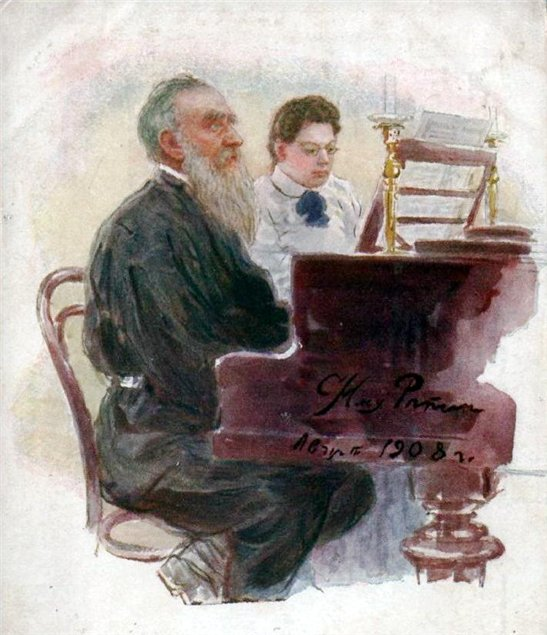 1-Ilya Repin's picture of Tolstoy and his daughter Alexandra