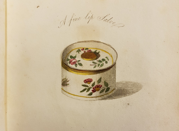 illustration of a flower-patterned lip salve container