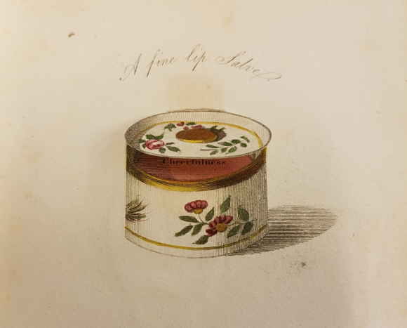 Illustration of an opened flower-patterned lip salve container