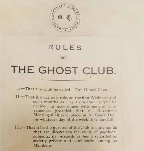 Printed Rules of the Ghost Club