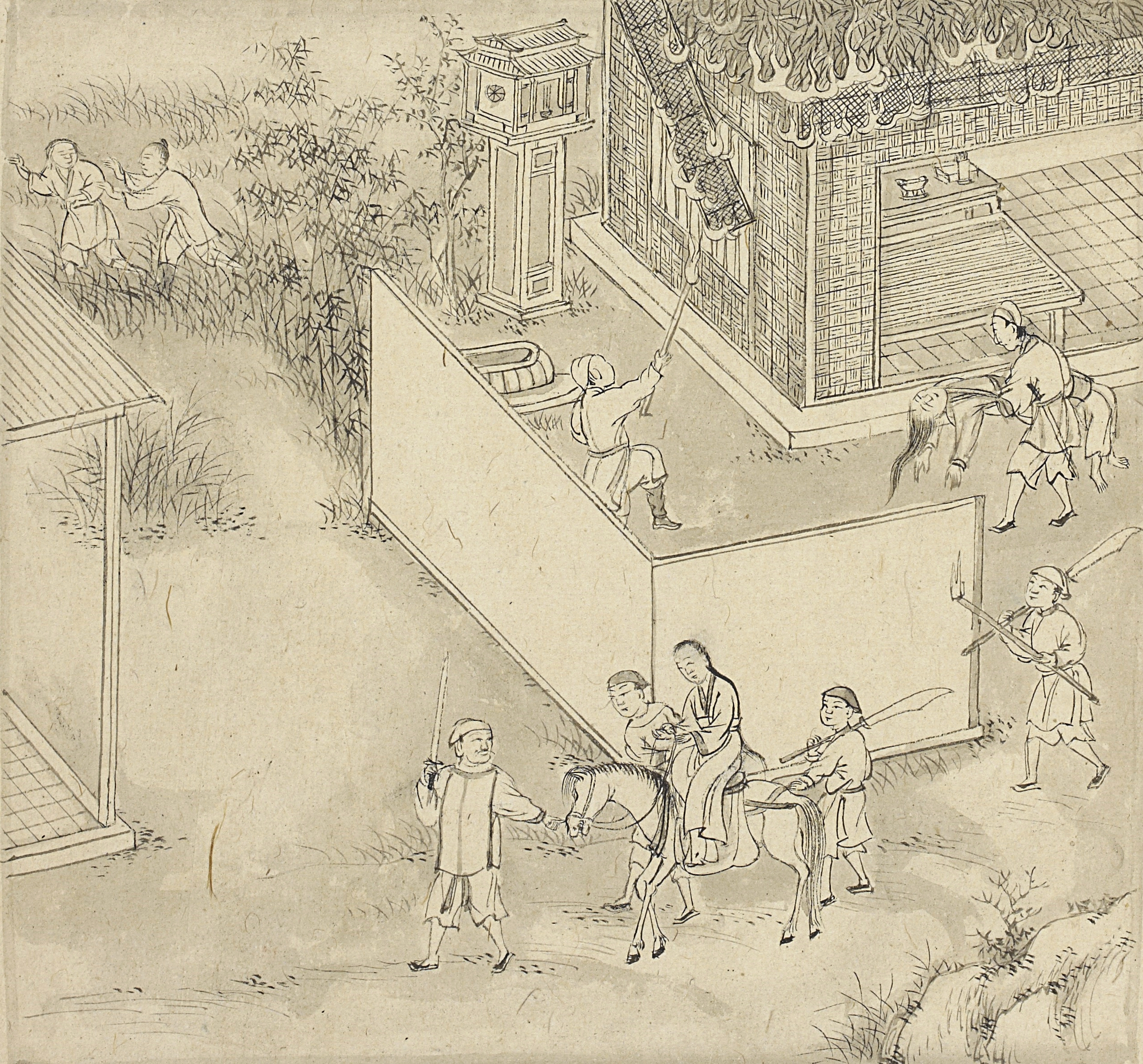 Kiều is kidnapped on the order of Hoạn Thư, the first wife of Kiều's second husband. Credit: British Library.