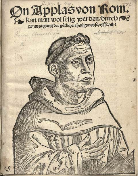 Title-page of a pamphlet with a portrait of Luther