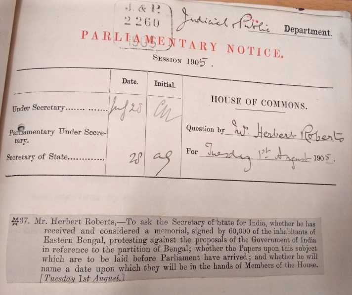 Sixty Thousand Signatures against the Bengal Partition