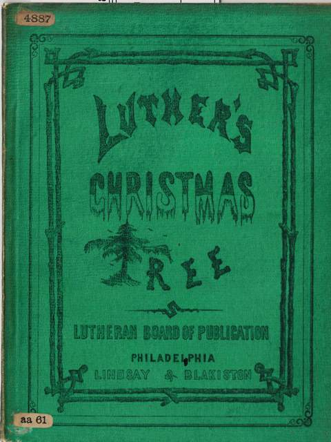 Green cover of 'Luther's Christmas Tree'.
