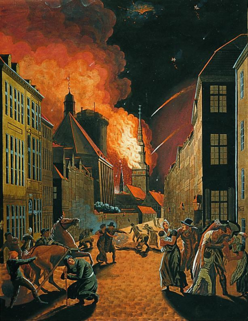 Painting showing Copenhagen under bombardment, with building on fire and people and horses fleeing