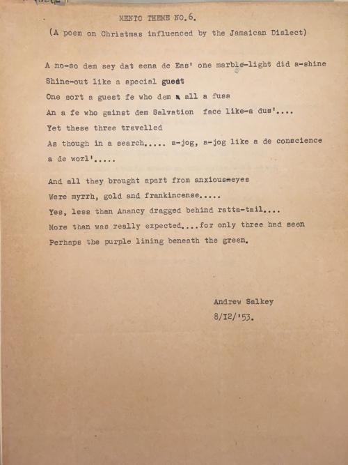 Salkey Mento Poem