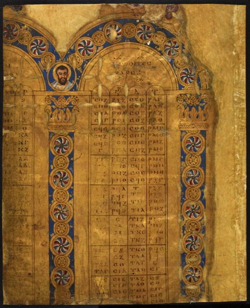 A page from the Golden Canon Tables, showing a table with Greek letters on parchment that has been entirely painted gold, with a small portrait of a haloed figure and decorated arches and columns.
