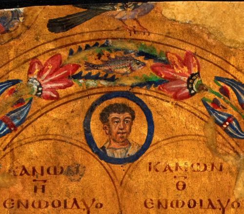 A detail from the Golden Canon Tables, showing a portrait of a male figure, probably representing one of the Apostles.