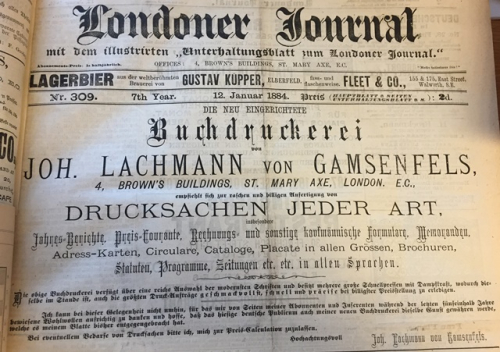 Newspaper advertisement for Gamsenfels's printing firmJourna