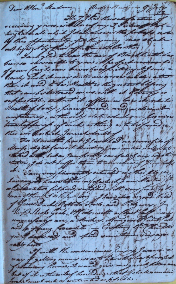 Kingsley's letter to his mother 9 July 1772 including a description of the garden at Budge Budge