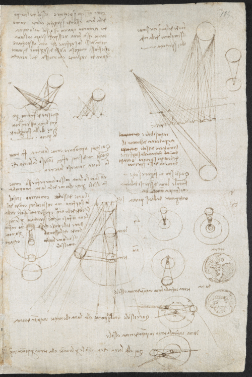 A page from one of the notebooks of Leonardo da Vinci, showing diagrams of the sun and moon, and notes in Italian, written in Leonardo's mirrored handwriting.