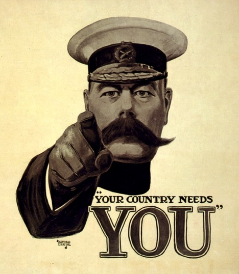 Poster with Lord Kitchener's pointing finger demanding Britons enlist for the First World War