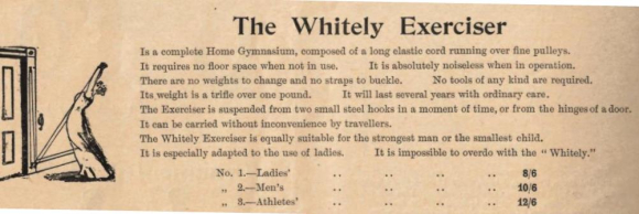 Advert showing woman using Whitely Exerciser