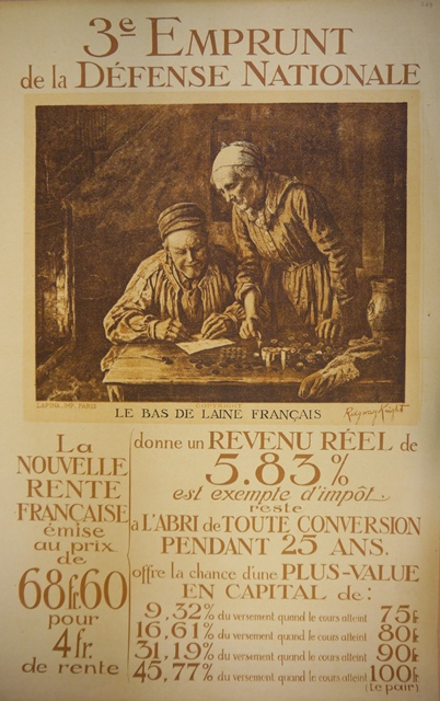 Poster of an elderly couple counting their money