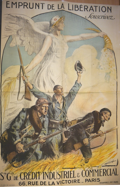 Poster of three soldiers with an allegorical figure of France behind them