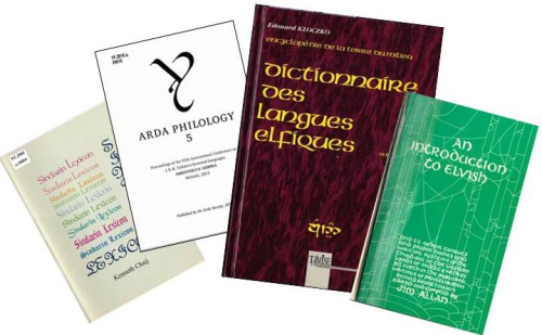 Covers of four books about Tolkien's invented languages