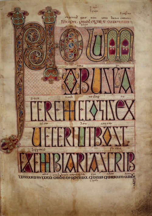 A highly decorated incipit page from The Lindisfarne Gospels.