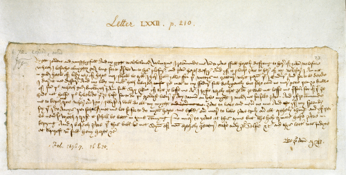 A letter from Margery Brews to her husband John Paston III, dated February 1477