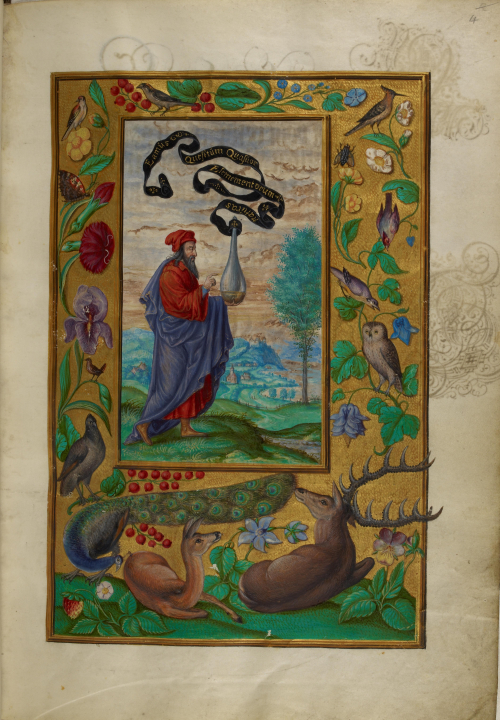 A page from a 15th-century manuscript of the Splendor Solis, showing an illustration of an alchemical scholar holding a flask filled with a golden liquid.