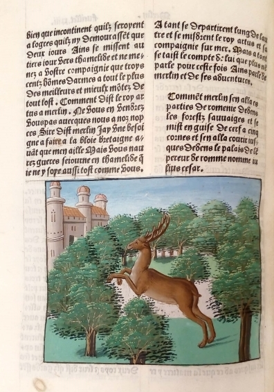 A stag galloping through a forest to a castle