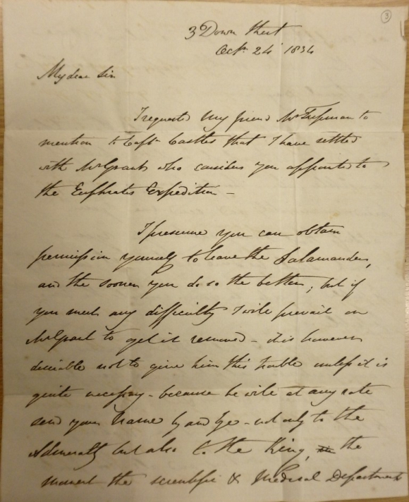 Chesney's letter confirming Charlewood's appointment