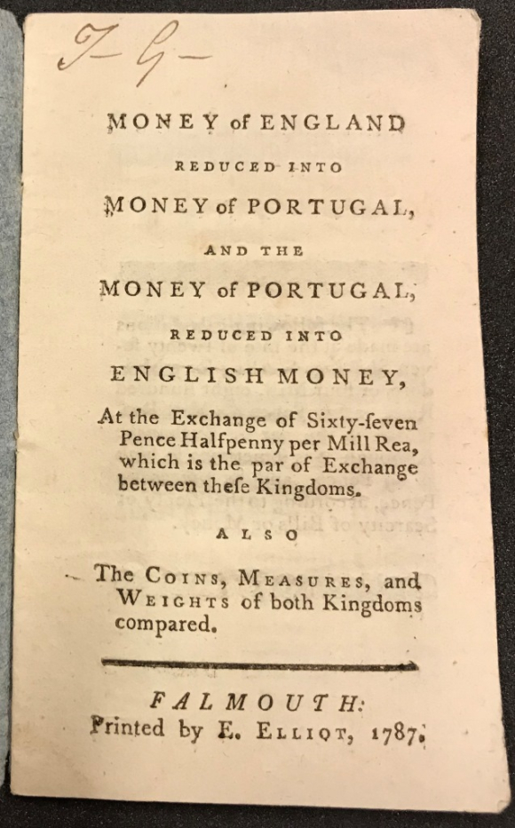 Title page of Money of England, reduced into money of Portugal