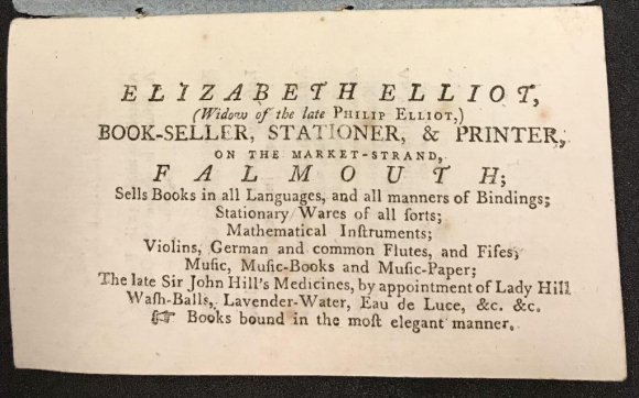 Advertisement for Elizabeth Elliot, bookseller, stationer and printer