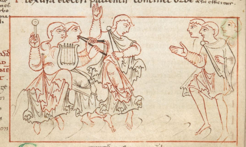 A detail from a 10th-century manuscript of the Psychomachia, showing an illustration of a dancer and musicians playing instruments.