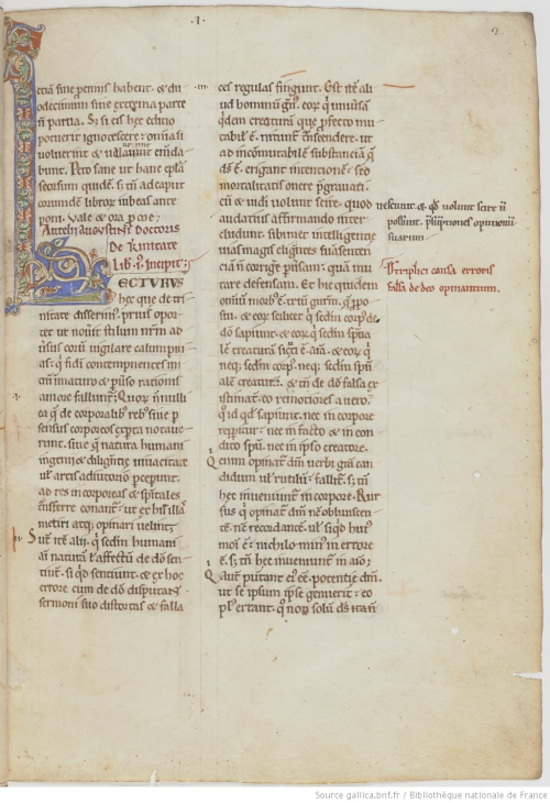 The opening page of a 12th-century manuscript of St Augustine's De Trinitate, showing an enlarged decorated initial.