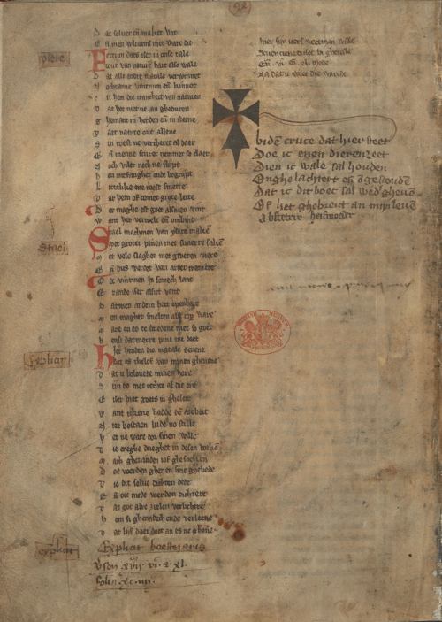 A page from a medieval manuscript, showing the text of an oath written by a midwife.