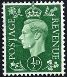 British definitive issue George VI ½ penny stamp