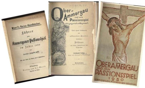 Covers of three guidebooks to Oberammergau and the play from the 19th and 20th centuries
