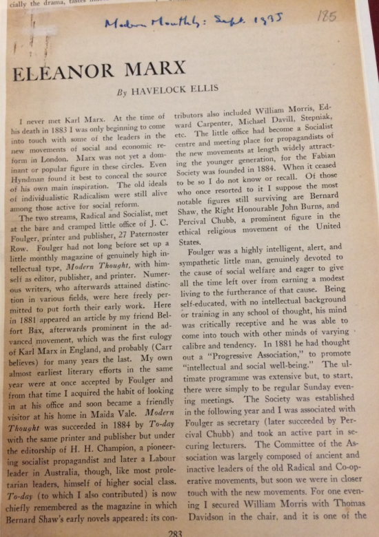 Henry Havelock Ellis, 'Eleanor Marx', in Modern Monthly
